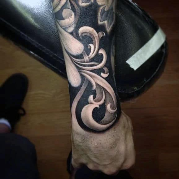 Wrist And Forearm Male Amazing Filigree Tattoos