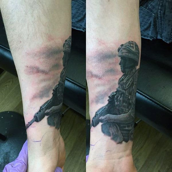 Wrist And Forearm Mens Army Solider Tattoo Design