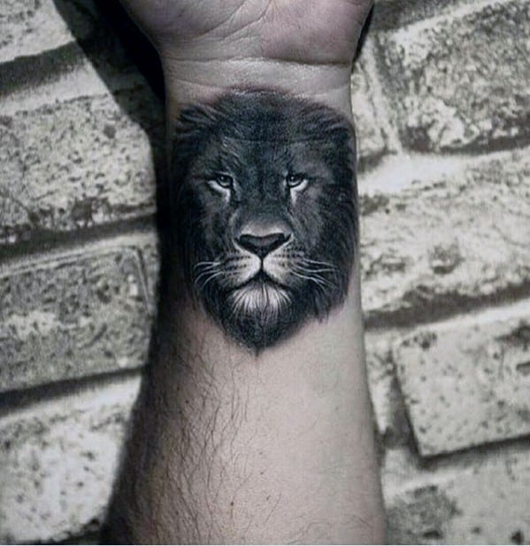 Wrist And Forearm Mens White And Grey Ink Lion Tattoos
