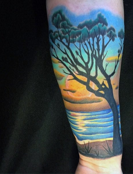 Wrist Beach Palm Tree Tattoo Designs For Males