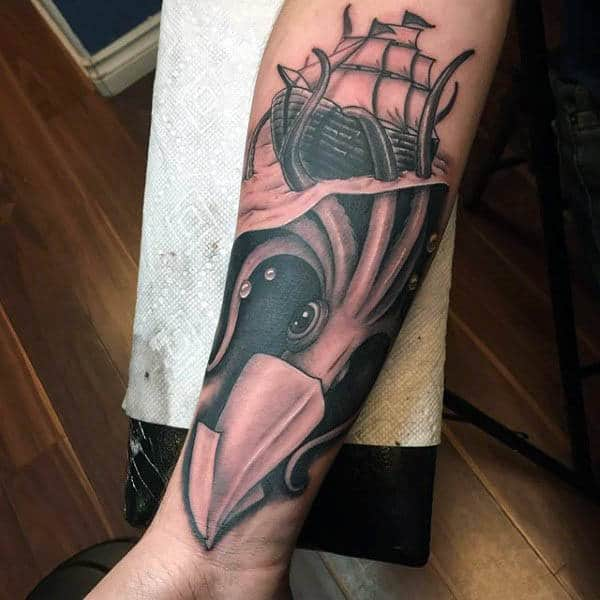 Wrist Black Underwater Squid Tattoo With Sailboat For Gentlemen