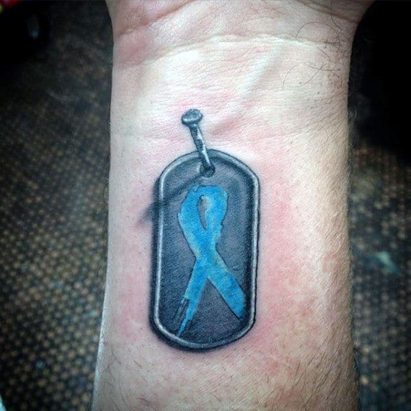 Wrist Blue Ribbon Military Dog Tags Tattoos On Men