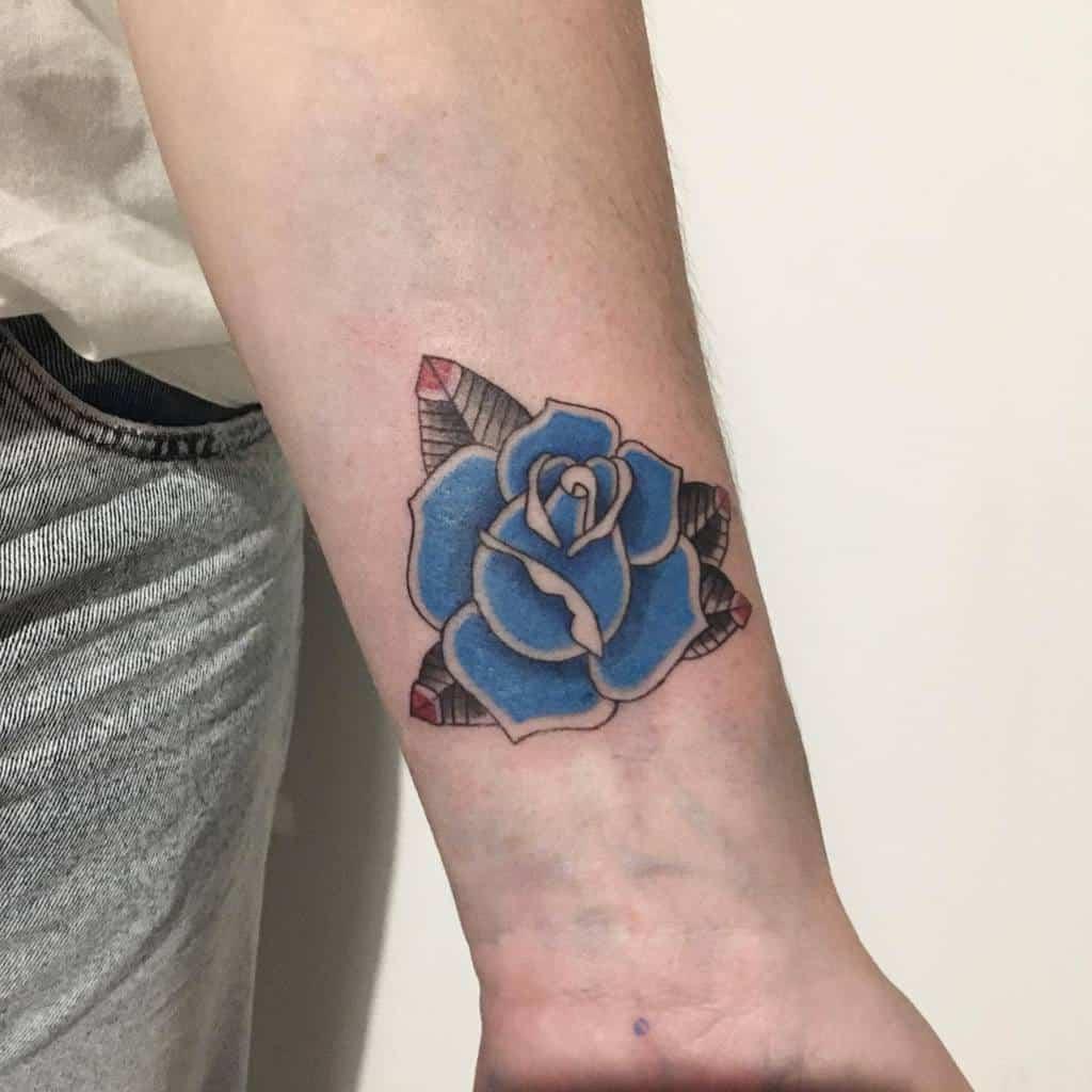 wrist blue rose tattoos guysvl
