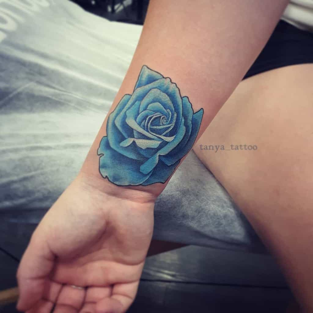 wrist blue rose tattoos tanya_tattoo