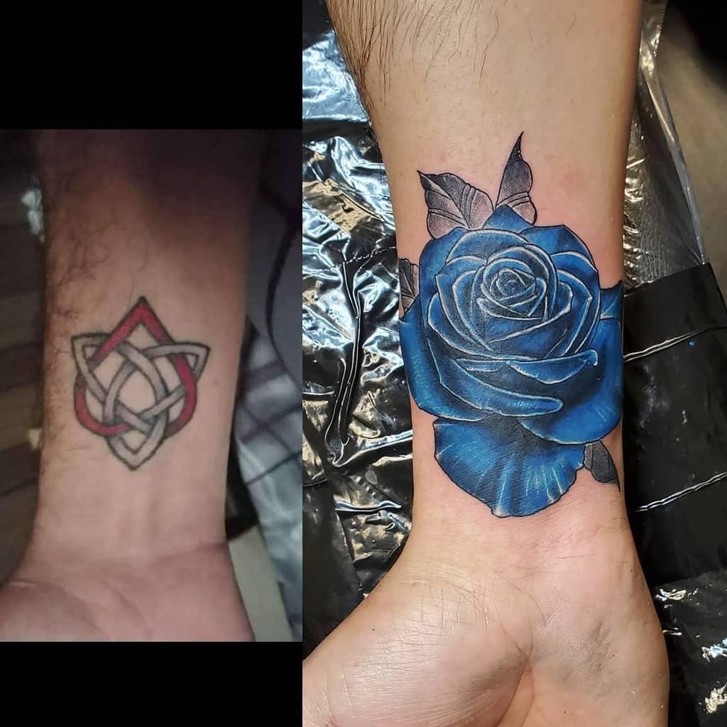 wrist blue rose tattoos travisdeshong