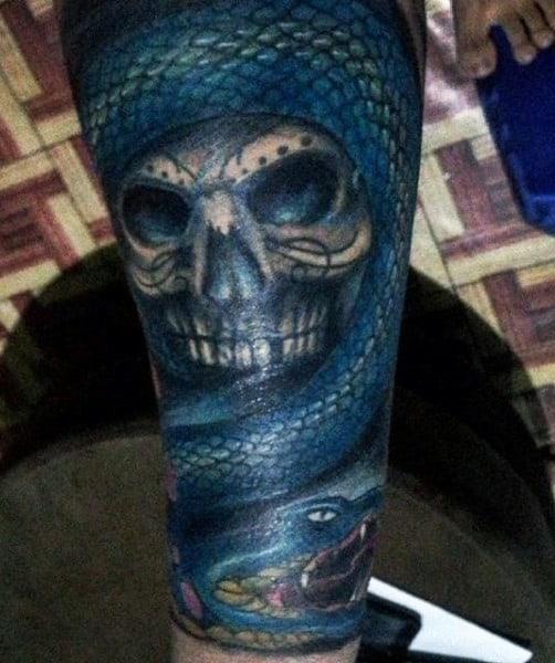 Wrist Blue Skull Snake Tattoo For Guys