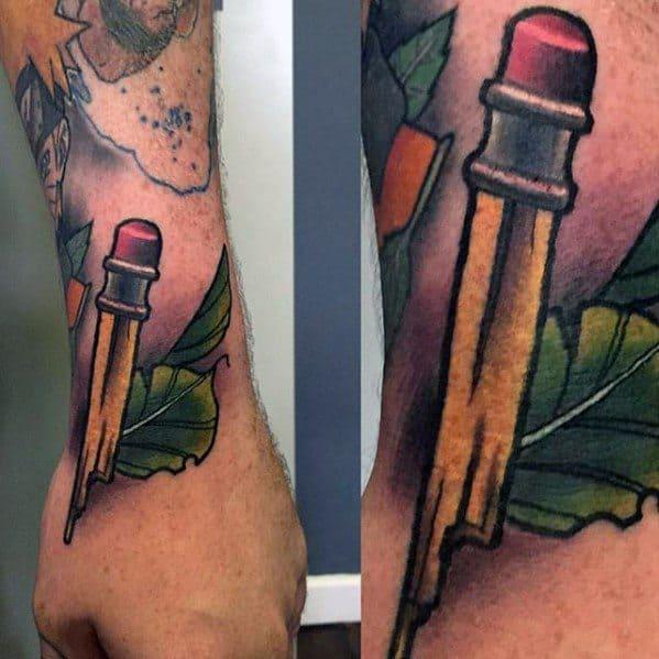 Wrist Broken Pencil Guys Tattoos