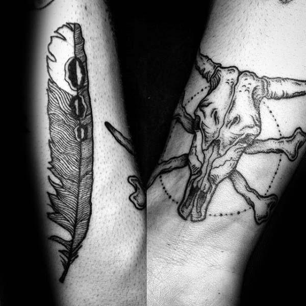 Wrist Bull Skull With Crossbones Male Tattoos