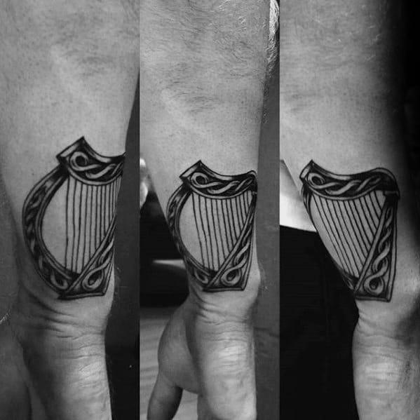 Wrist Celtic Harp Tattoos For Gentlemen