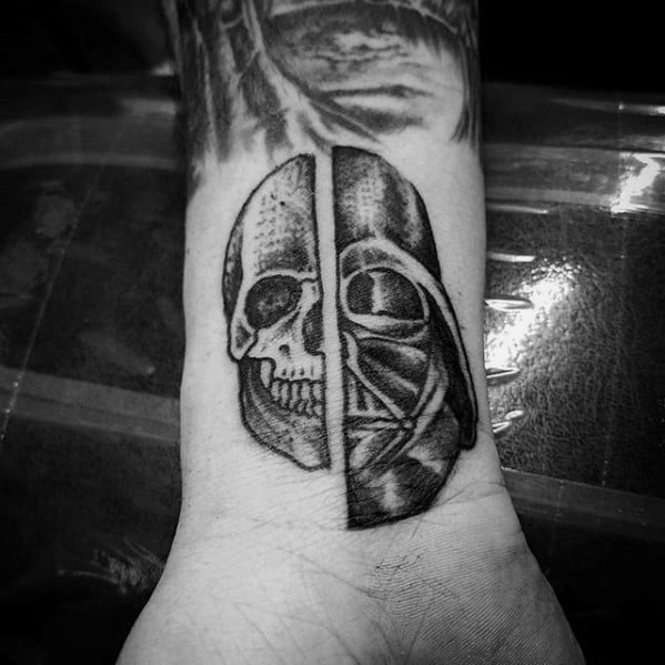 Wrist Dath Vader Skull Small Unique Mens Tattoo Ideas