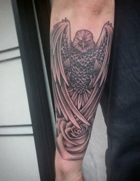 Wrist Eagle Scout Tattoo For Men On Forearm