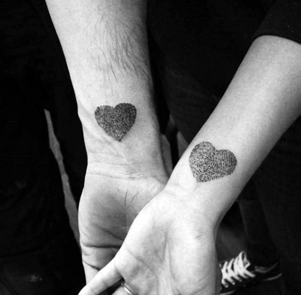 Wrist Fingerprint Hearts Couples Tattoos Inspiration
