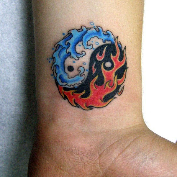 Wrist Fire And Water Yin Yang Tattoo For Males