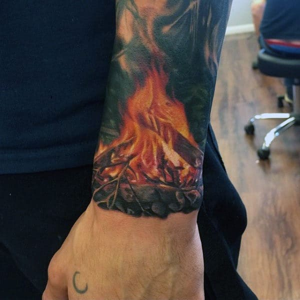 top 60 best flame tattoos for men inferno of designs. Black Bedroom Furniture Sets. Home Design Ideas