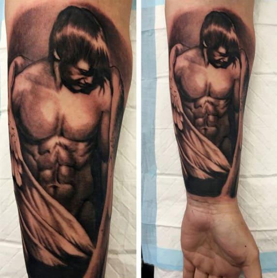 Wrist Gaurdian Angel Tattoo Designs For Men In Black Ink