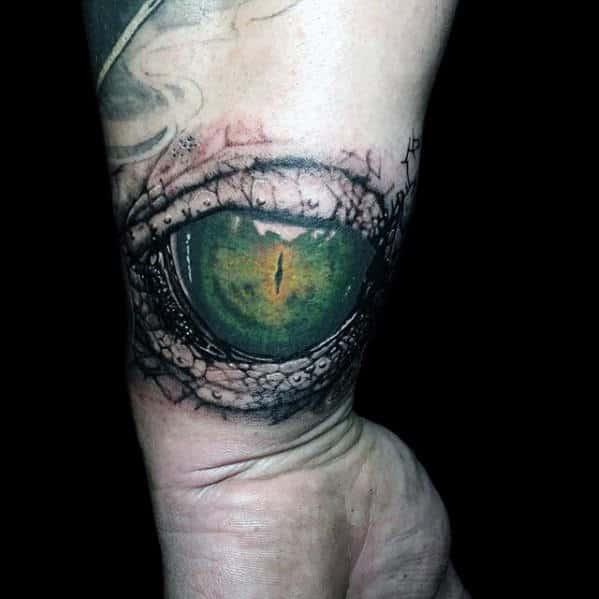 Wrist Green Dragon Eye Realistic Tattoos For Guys