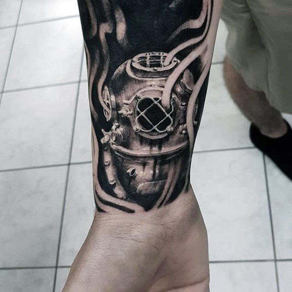 Wrist Guys Diving Helmet Tattoo Deisgns