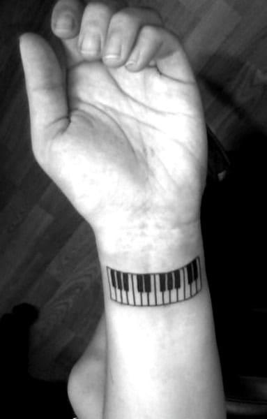 Wrist Guys Piano Keys Black Ink Tattoo Ideas