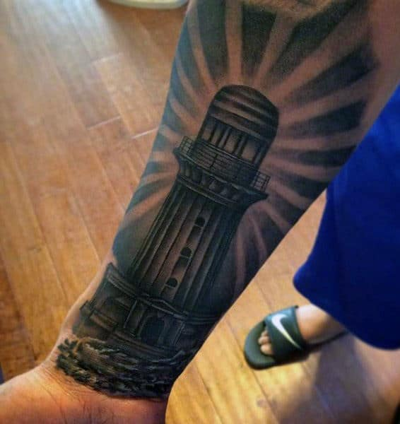 Wrist Lighthouse Mens Tattoo Designs