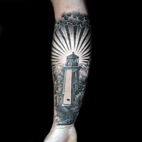 Wrist Lighthouse Tattoo Men Realistic