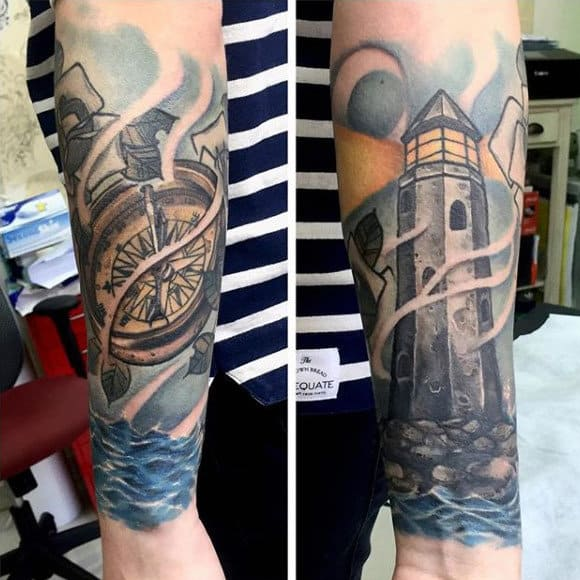 Wrist Lighthouse With Compass Mens Tattoo