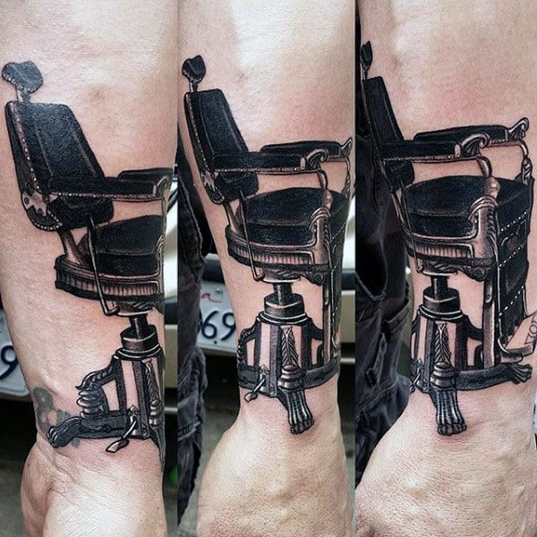 Wrist Male Barbershop Chair Tattoo In Black Ink For Men