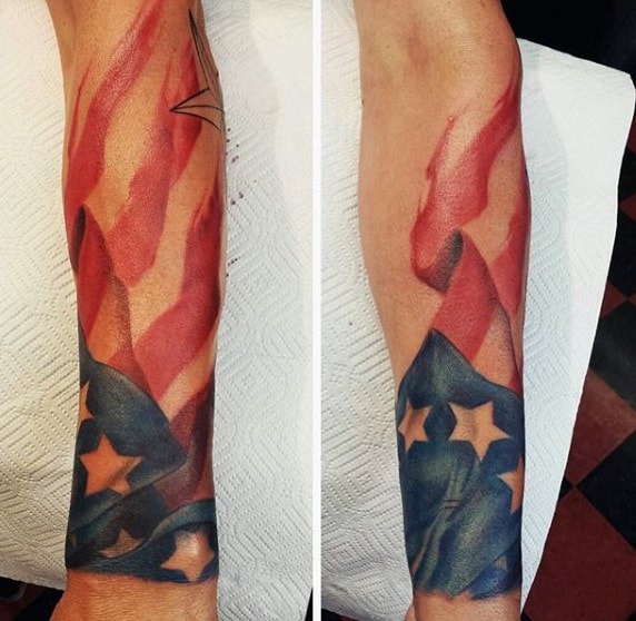 Wrist Male Mexican American Flag Tattoos