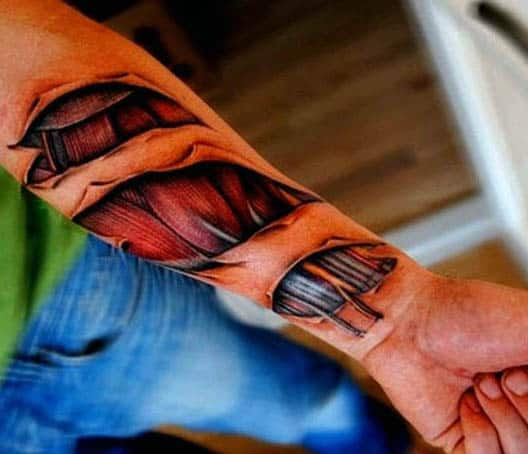 Wrist Male Ripped Skin Mechanical And Muscle Tattoo