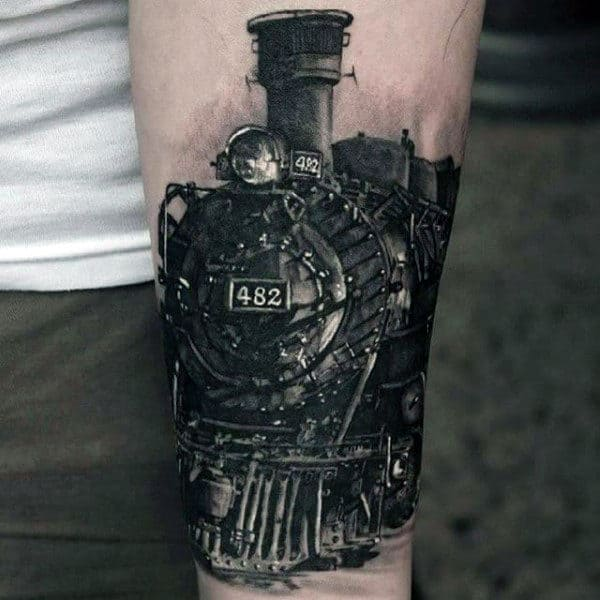 Wrist Male Train Tattoo In Black Ink