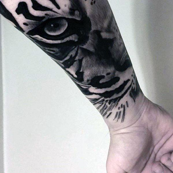 Wrist Masculine Tiger Eyes Tattoos For Men