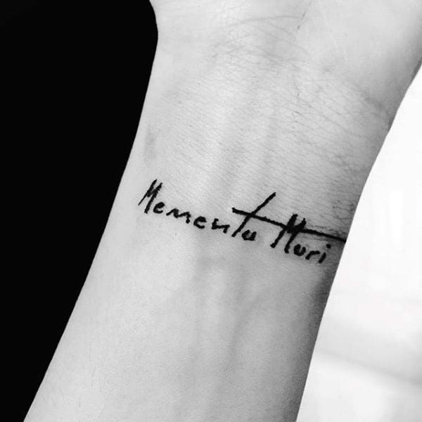 Memento mori tattoo wrist