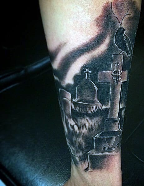 Wrist Men's Graveyard Tattoo