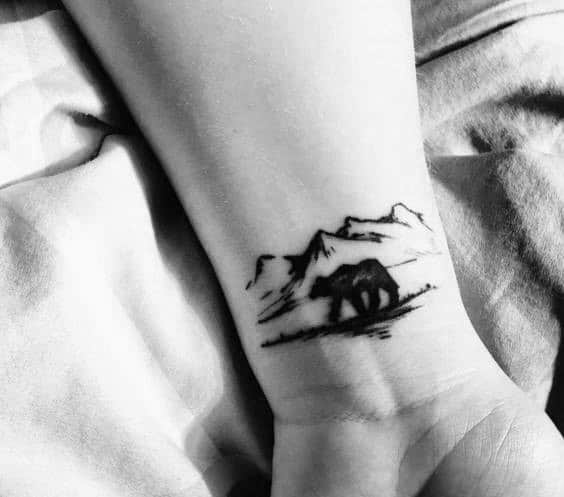 Wrist Mens Polar Bear Mountain Tattoo