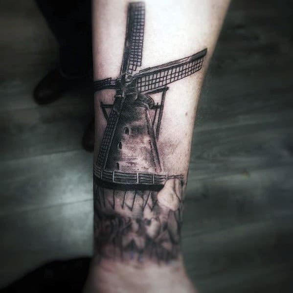 Wrist Mens Shaded 3d Windmill Tattoos