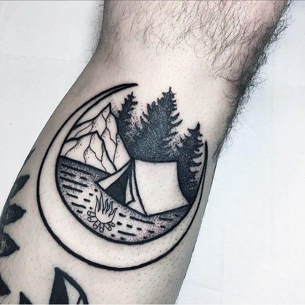 Wrist Moon Male Cool Tent Tattoo Ideas
