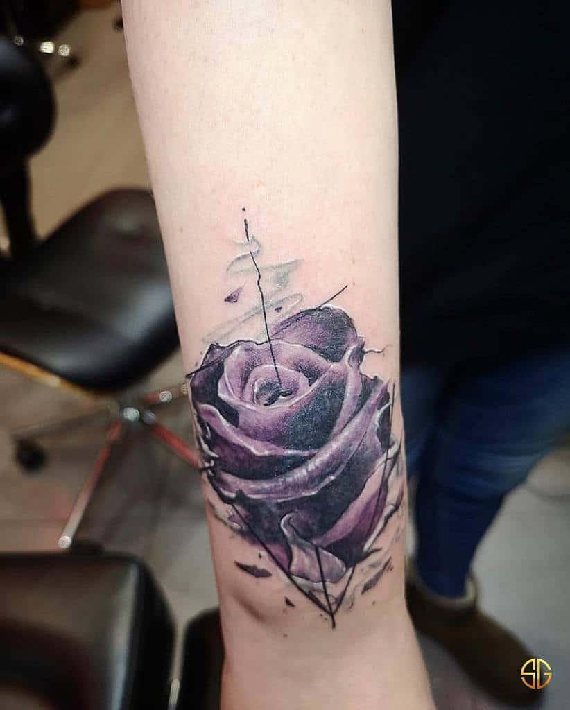 wrist purple rose tattoos southgatetattoo