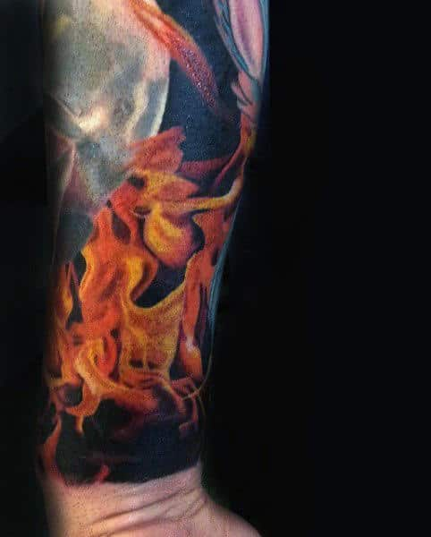 Wrist Realistic Flame Tattoos For Men