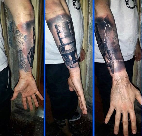 Wrist Realistic Lightning Tattoo Designs For Males