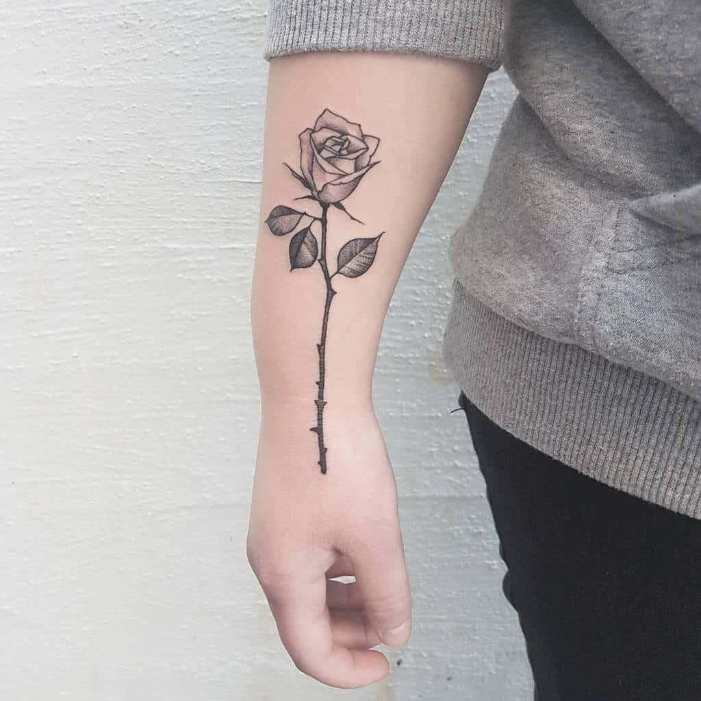 wrist rose with stem tattoos helene_sol_art