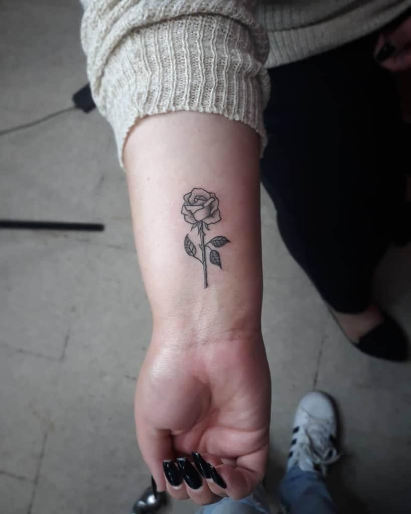 wrist rose with stem tattoos yurii.boo