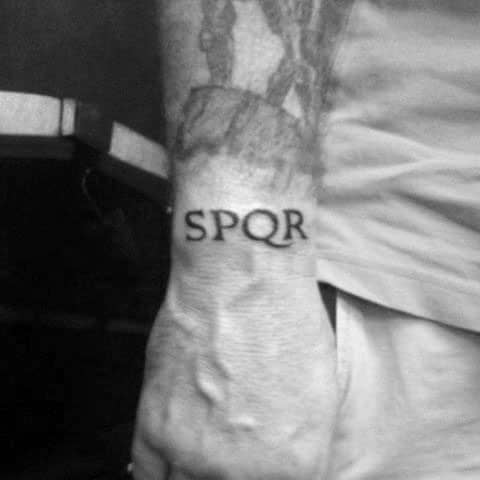 Wrist Senatus Populusque Romanus Mens Spqr Tattoos