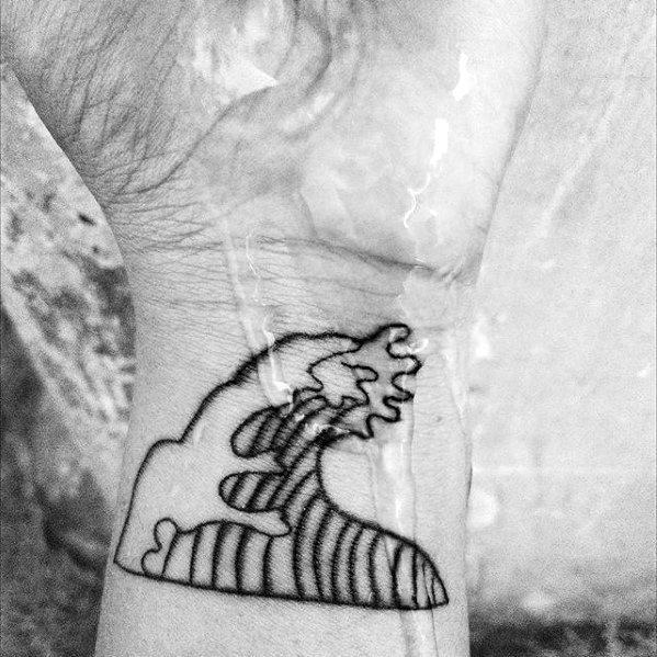 Wrist Simple Wave Black Ink Male Tattoo Designs