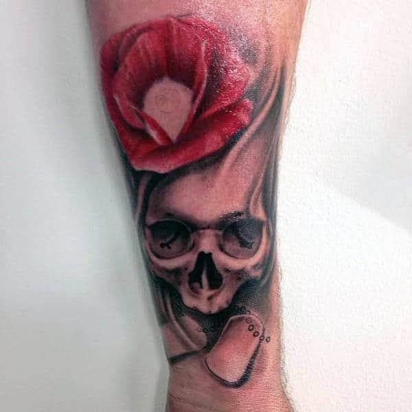 Wrist Skull Poppy Male Tattoos