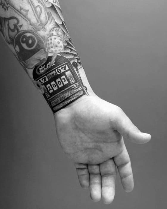 Wrist Slot Machine Mens Tattoo Designs