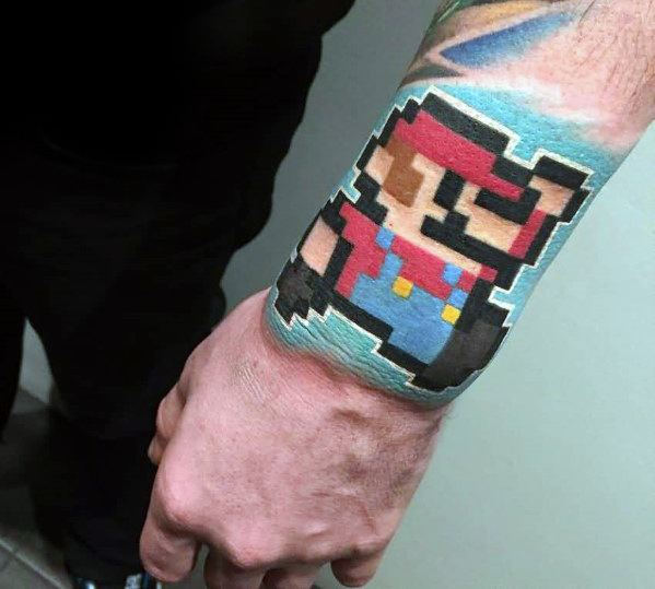 Wrist Super Mario 8 Bit Male Tattoo With Pixel Design