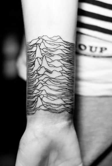 Wrist Tattoo For Men Of Fine Line Mountain Design