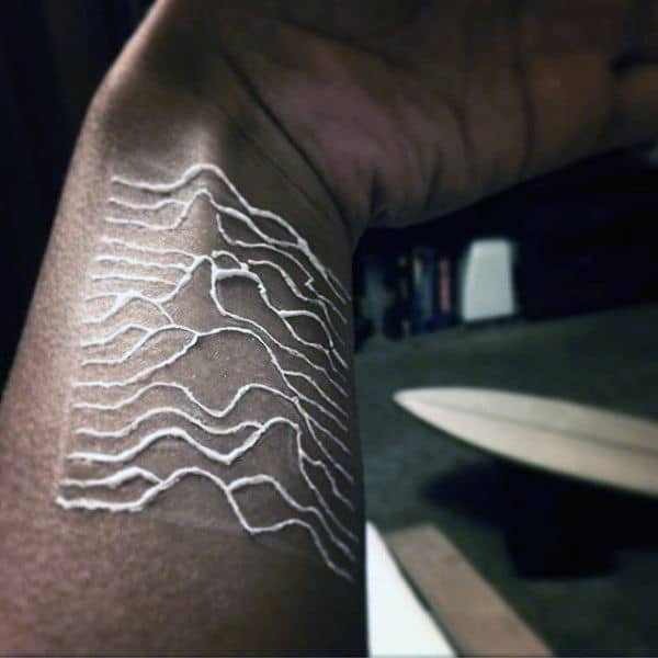 Wrist Tattoo Of White Ink Nature Mountains For Guys