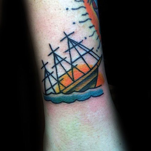 Wrist Traditional Male Shipwreck Tattoo Ideas