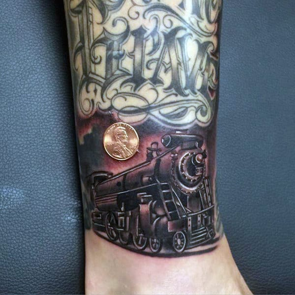 Wrist Train Tattoo For Males