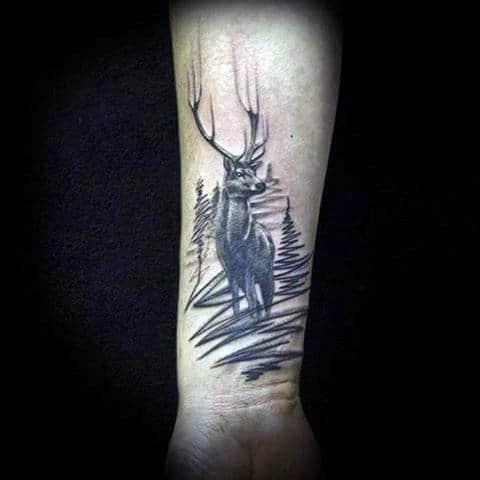 Wrist Whitetail Deer Tattoos Designs